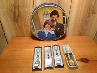 Vintage Huntley Palmer Charles & Diane tin, 3 George 2013 spoons & annointing sp