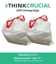 """Think Crucial 20PK Durable Garbage Bags Fit Simplehuman® 'size """"P""""', 60L / 13-16"""
