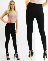 New Womens High Waisted Jean Black Denim Skinny Fit Jeans Ladies Jegging Pants