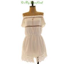 6ac8919b38a Missguided Romper Size 12 Off Shoulder Crochet Lace Trim Playsuit White A1