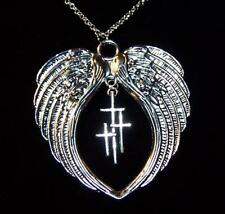 "LARGE ANGEL WING PRAY PROTECT CROSS pendant Sterling Silver 925 chain 20"" female"