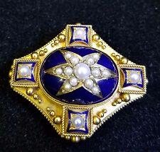 Vintage Victorian 18 Karat yellow Gold Cobalt Blue Enamel Pearl Mourning Brooch