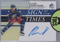 Oliver Bjorkstrand 2019-20 SP Authentic Sign Of The Times Hard Signed Columbus