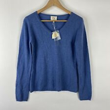Qi Cashmere Sweater Size Medium Womens Blue V Neck Long Sleeve Pullover Knit