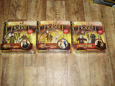 """THE HOBBIT """"AN UNEXPECTED JOURNEY"""" 3 PACKS OF 2 ACTION FIGURES ALL MINT"""