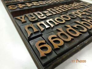 Printing Letterpress Print Block Antique Hamilton Wood Alphabet Incomplete 1889