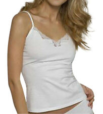 Ladies/Girls cool Cotton Cami Vest & Knickers Set White by Figleaves Size 12