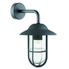 Searchlight Outdoor Wall Bracket Matt Black Clear Glass Shade 3291BK