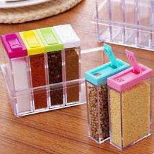 6in1 Spice Container Jar Condiment Dispenser Salt Seasoning Box for Kitchen Well