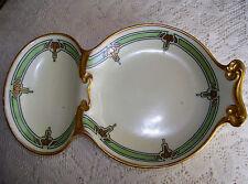 Vintage T&V LIMOGES Hand Painted Divided Dish GOLD Trim SIGNED