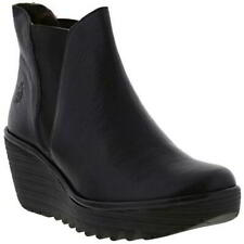 Fly London Yoss Womens Ladies Black Leather Platform Wedge Ankle Boots Size 4-8