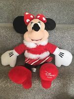 "Official Disney Store Minnie Mouse 18"" - Red Winter Holiday Christmas Soft Plush"