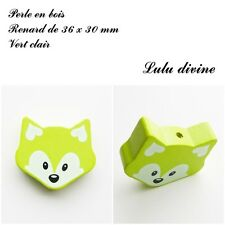 Perle en bois de 36 x 30 mm, Perle plate grosse Tête de renard : Vert clair