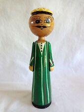 "Egypt Man Figurine 7.5"" Green Stripes Hand Turned Wood Egyptian"