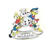 Happy Holidays 2018 Donald Duck Huey Dewey Louie Snowman Disney Pin
