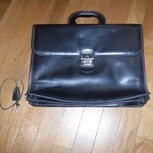 THE BRIDGE Classic black Leather Briefcase 40cm wide