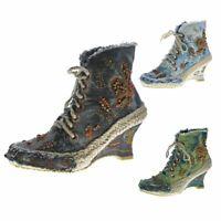 Damen Stiefeletten Kurz B-Ware Keil Stoff Schuhe Batik Muster variieren 2.Wahl