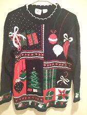 Vintage Retro Ugly Christmas Sweater Tacky - Medium Navy Blue Nut Cracker Jumper
