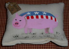 PATRIOTIC PIG Prim Folk Art Pillow Shelfsitter Prim HP