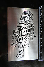Stainless/Steel/stencil/Oblong/Walking/Tiger/Cat/Emboss/METAL