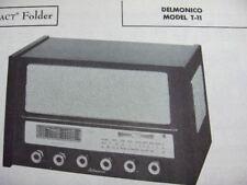 DELMONICO T-11 SHORTWAVE RADIO PHOTOFACT