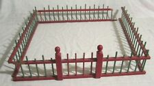 "Red & Green Toy WOODEN FENCE for Christmas Tree, Farm or Doll House -- 18"" x 18"""