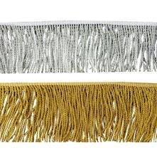 GOLD & SILVER ZINC WIRE FRINGE  WIDTH SIZE :  7CM  (PRICE PER METRE)