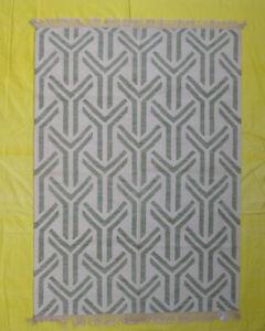 Wool Kilim Area Rug Hand Woven Morden Design Decorative Geometric 5'x7' Ft