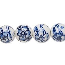4452 Bead Round Porcelain Blue White 12mm PK6 *UK EBAY SHOP*