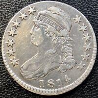 1814 Capped Bust Half Dollar 50c ERROR ~ OFF CENTER Higher Grade #13448