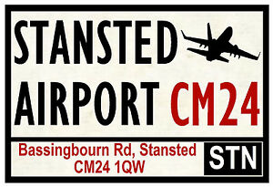 STREET / ROAD SIGNS (STANSTED AIRPORT) - SOUVENIR NOVELTY FRIDGE MAGNET - GIFTS