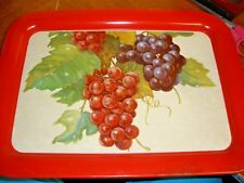 "Kitchen Vintage Metal Large 17.25"" x 13"" Serving Tray Grapes Red Border"