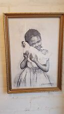 VINTAGE JAMAICAN ART PRINT BY J MacDONALD HENRY GIRL WITH CHICKEN