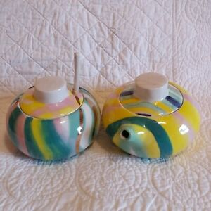 Anthropologie Hand Painted Stoneware Sugar Bowl & Creamer Matching Set w/ Spoon