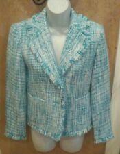 Chadwick's Tweed 3/4 Sleeve Jacket Blazer Blue White with Fringe Edges Sz 2P