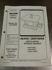 Sears Craftsman 113.225906 Oscillating Spindle Sander Parts Owners Manual