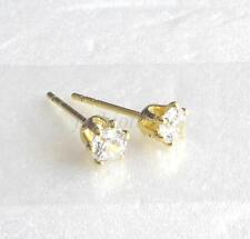 4mm 14K Yellow Gold Plated Clear Simulated Diamond Men Unisex Tiny Stud Earrings