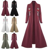 Womens Floaty Flowy Cardigan Ladies Open Front Flared Embroidered Jacket Coat