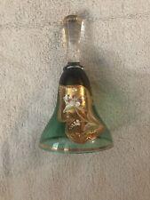 Bohemia Glass Bell Hand Made Crystal Floral Gold Czech Republic Green