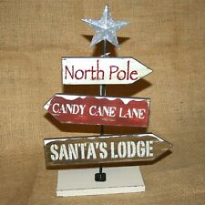 "Table Top Sign North Pole Santa""s Lodge Candy Cane Lane Christmas Decor"