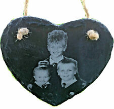valentines day gift family photos engraved onto slate heart large hanging plaque