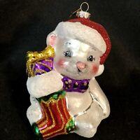 Christopher Radko Christmas Ornament Bear Santa with Stocking and Presents NEW