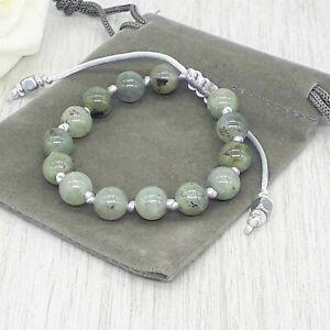 Handmade Adjustable Labradorite Gemstone Cord Bracelet & Velvet Pouch. 6/8mm.