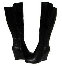 Women's Fashion Boots Black Wedge Knee High Shoes Winter Snow Ladies size 8.5