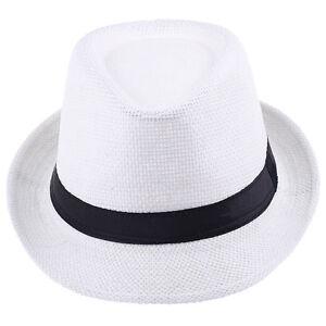 Children Boys Fedora Trilby Derby Straw Hat Wide Brim Panama Jazz Cap Summer