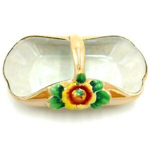 Vintage Peach Lustre Ware Porcelain Basket Shaped Bowl Yellow Orange Rose Kitsch