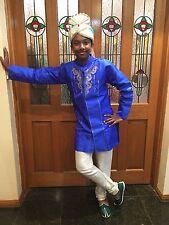 7 Age Size Boys Kurtha Indian Sherwani Bollywood Silk Kids Suit Blue Cream D13