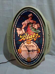 BLATZ Beer Lady Lighted Clock Vintage Bar Light Sign Pabst Milwaukee Man Cave