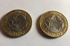 2 monete da 1000 lire una confini sbagliati e una corretta