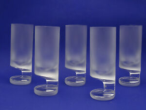 """SET of 5 VINTAGE JOE COLOMBO FOR ARNOLFO di CAMBIO SMOKE FROSTED TALL GLASSES 7"""""""